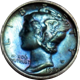 Blue toned Mercury Dime
